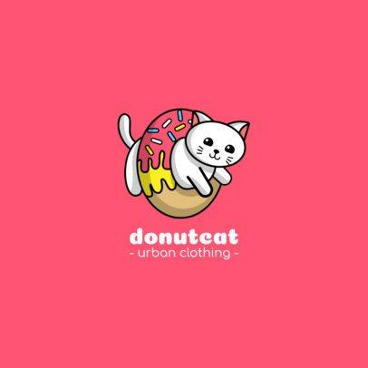 Streetwear Logo Creator Featuring a Cat Stuck in a Donut 264b-el1
