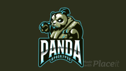 Animated Gaming Logo Template Featuring an Aggressive Panda Warrior 2755y-2936
