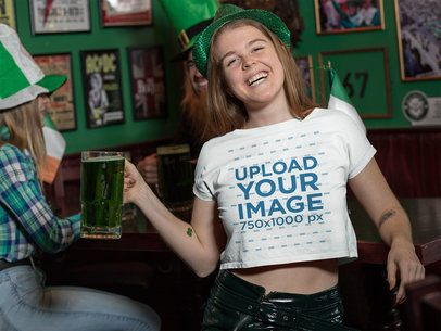 Crop Top Mockup Featuring a Young Woman at a St. Patrick's Day Party 32131
