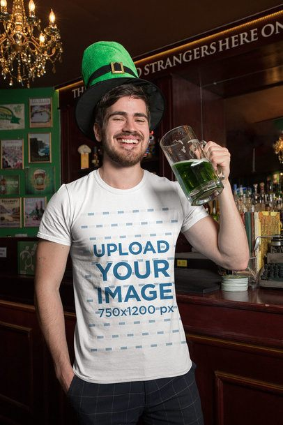 T-Shirt Mockup Featuring a Smiling Man Drinking Green Beer 32140