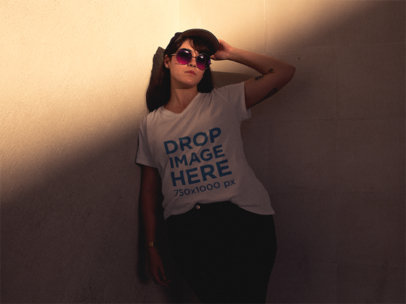 T-Shirt Mockup of a Hipster Woman Wearing Sunglasses a12077