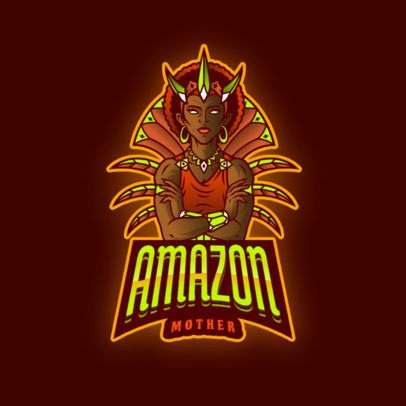 Gaming Logo Generator Featuring a Princess from the Amazonia 2915h