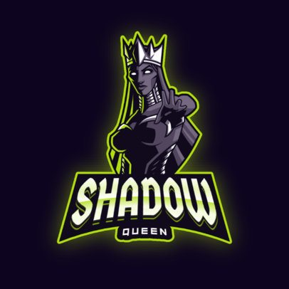 Gaming Logo Template Featuring a Dark Queen Graphic 2915a