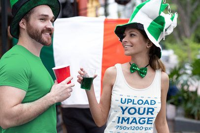 Tank Top Mockup Featuring Two Friends Celebrating St. Patrick's Day 32122