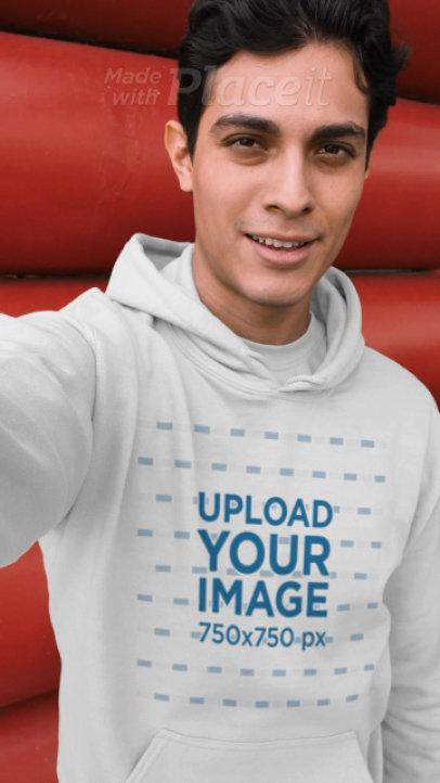 Selfie Video of a Man Wearing a Pullover Hoodie 32023