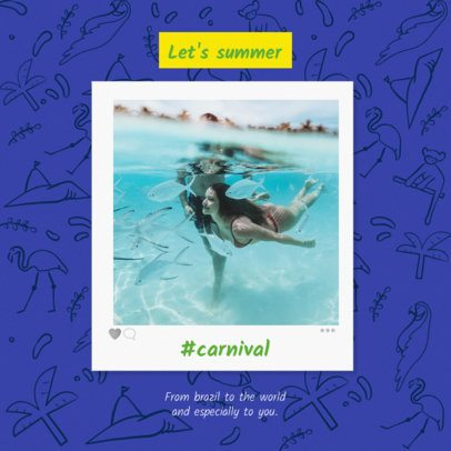 Rio Carnival Instagram Post Template with Beach Doodles 2236a