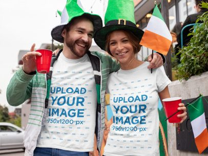 Mockup of a Couple Wearing T-Shirts During a Saint Patrick's Day Celebration 32109
