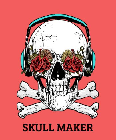 T-Shirt Design Template Featuring Cool Skull Illustrations 2286