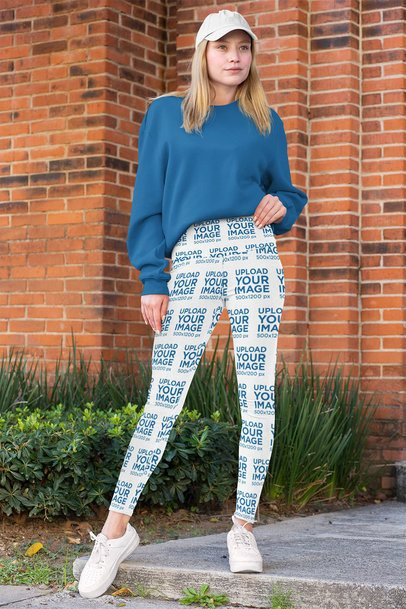 Mockup of a Woman Wearing High-Waisted Leggings 31494