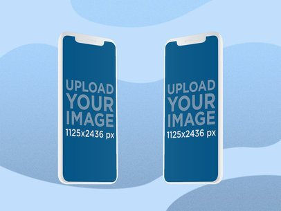 Illustrated Mockup Featuring Two iPhone 11 Pro Screens with a Customizable Background 2885-el1