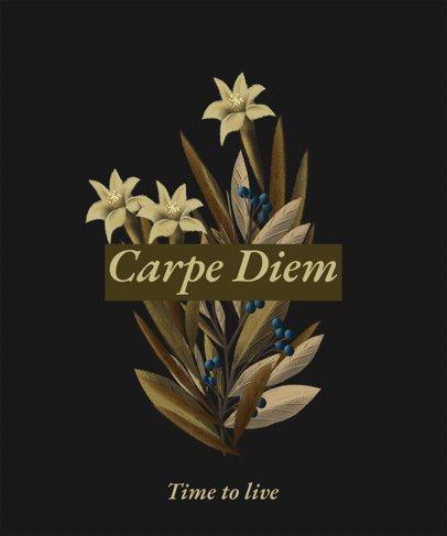 T-Shirt Design Template Featuring Botanical Illustrations 2282