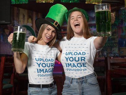 T-Shirt Mockup Featuring Two Friends Celebrating St Patricks Day 32136