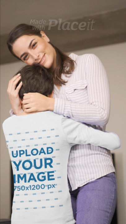 Video of a Boy Wearing a Long Sleeve Tee While Hugging His Mother 32332