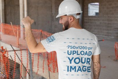 Back View Mockup of an Engineer Wearing a T-Shirt with a Customizable Sleeve 31530