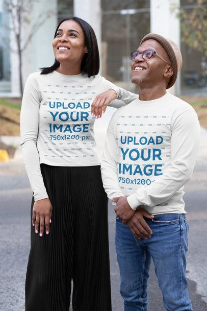 Mockup of Two Friends Wearing Long Sleeve Tees on the Street 31634
