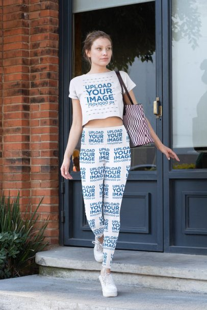 Mockup of a Woman Wearing High-Waisted Leggings and a Crop Top 31502