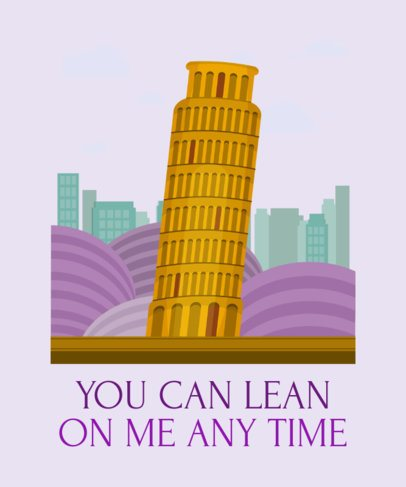 T-Shirt Design Generator Featuring the Leaning Tower of Pisa 2285c