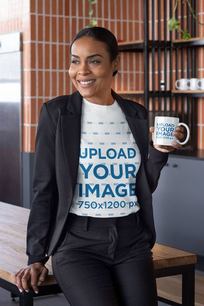 T-Shirt Mockup Featuring a Woman Holding an 11 oz Coffee Mug 31704