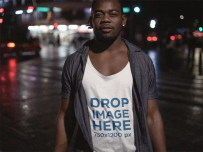 Tank Top Mockup of a Black Guy With Dreadlocks Out on the Street a12053