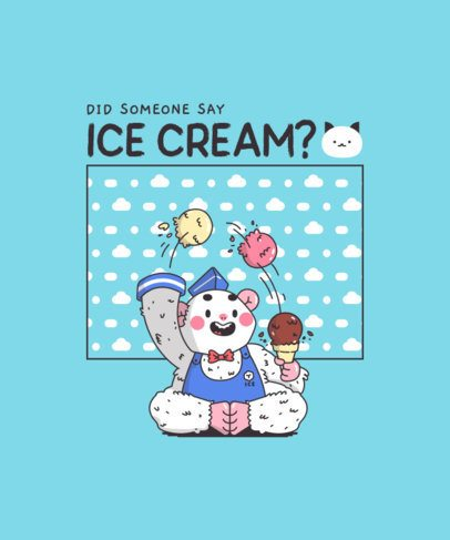 Kawaii T-Shirt Design Template Featuring an Ice Cream-Juggling Yeti Graphic 289a-el1