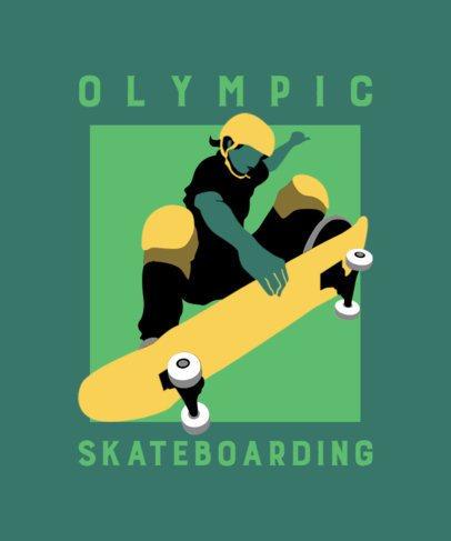 Olympic Skateboarding T-Shirt Design Template 2280h