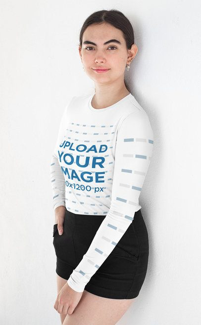 Long Sleeve T-Shirt Mockup of a Woman Wearing Short Pants 31472