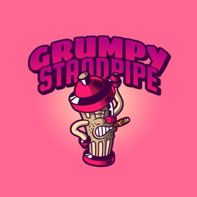 Streetwear Logo Template Featuring a Grumpy Standpipe Illustration 2956f