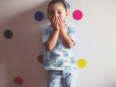 Sublimated Kid's T-Shirt Mockup of a Little Girl Giggling a12046