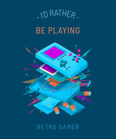 T-Shirt Design Template Featuring a Deconstructed Gaming Device 2284a