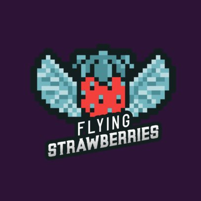 Gaming Logo Maker Featuring a Flying 8-Bit Strawberry 2951a