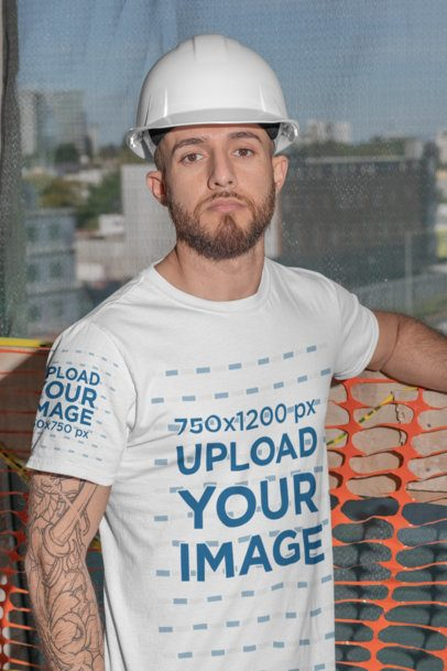 T-Shirt Sleeve Mockup of a Bearded Construction Worker with an Arm Tattoo 31536