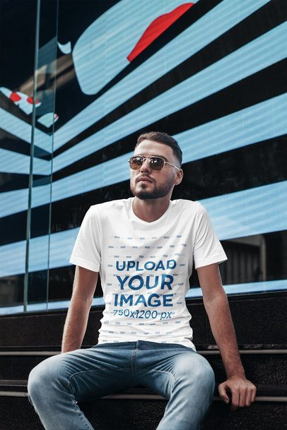 T-Shirt Mockup Featuring a Man with Sunglasses in an Urban Setting 2815-el1