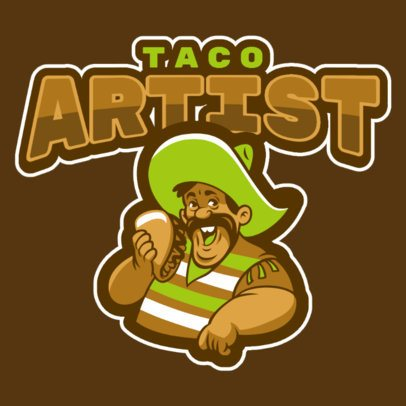 Logo Template Featuring a Man Eating a Taco 484u-2964