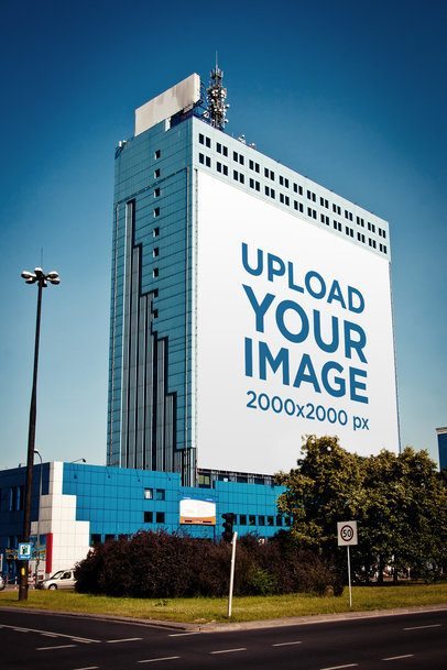 Mockup of a Billboard Placed on a Tall Building 2870-el1