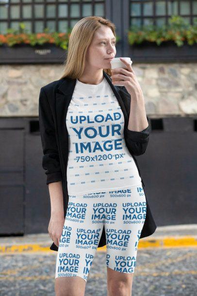 Mockup of a Woman Wearing a T-Shirt and Bike Shorts 31515