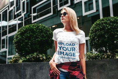 T-Shirt Mockup of a Fashionable Woman in a City Scenario 2820-el1