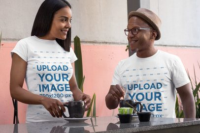 T-Shirt Mockup of a Middle-Aged Couple Enjoying Coffee 31628
