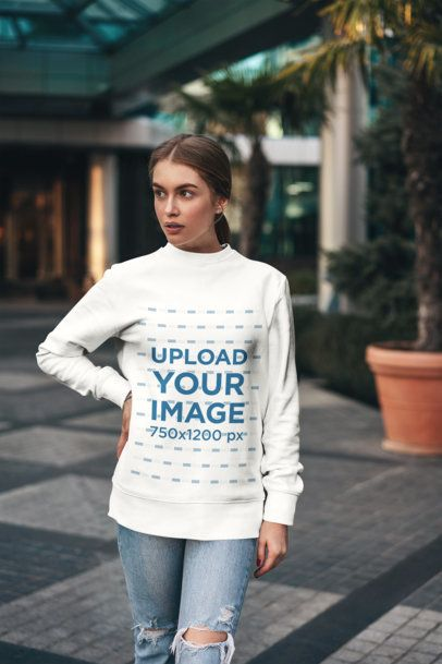 Mockup of a Young Woman with a Ponytail Wearing a Sweatshirt 2834-el1