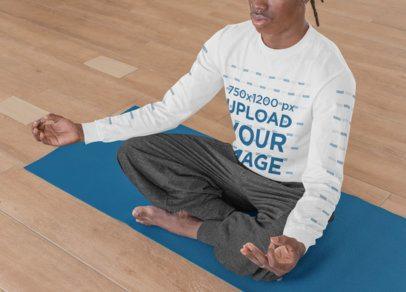 Long Sleeve Tee Featuring a Man Doing Yoga 31118