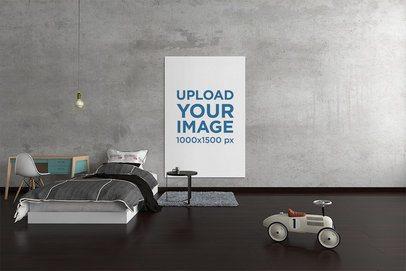 Art Print Mockup Featuring a Minimalistic Bedroom 2533-el1