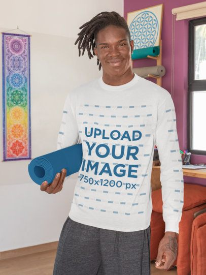 Long-Sleeve Tee Mockup Featuring a Man Ready to Practice Yoga 31119