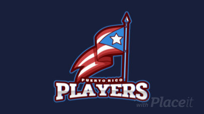 Animated Sports Logo Maker with a Waving Puerto Rican Flag 2601e-2929