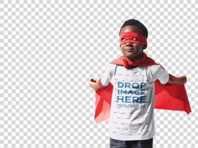 Super Hero Kid's Round Neck T-Shirt Mockup Wearing a Red Cape a12068