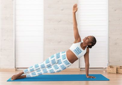 Mockup of a Woman Doing Yoga with a Sports Bra and Leggings 31096