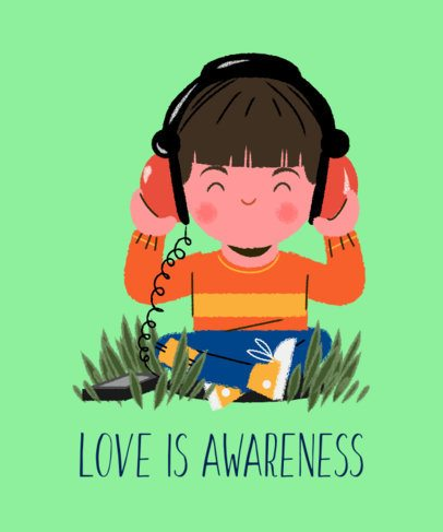Autism Awareness T-Shirt Design Generator Featuring a Joyful Kid with Headphones 2254e
