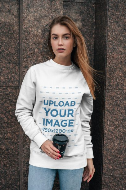 Crewneck Sweatshirt Mockup Featuring a Young Long-Haired Woman Holding a Hot Beverage 2841-el1