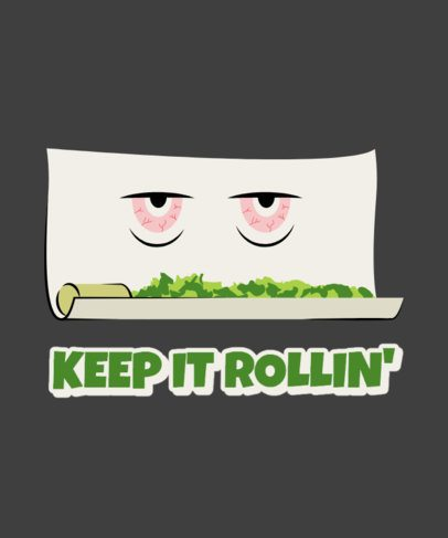 T-Shirt Design Template Featuring a Marijuana Roll Cartoon 2257a