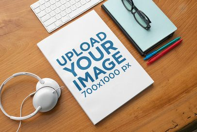 Magazine Mockup Featuring Office Supplies 31667
