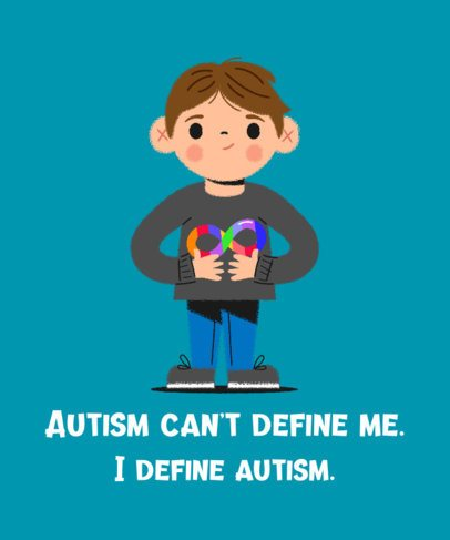 T-Shirt Design Generator for Autism Awareness Month Featuring a Boy Illustration 2254g