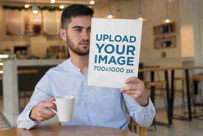 Magazine Mockup of a Man at a Coffee Shop 31550